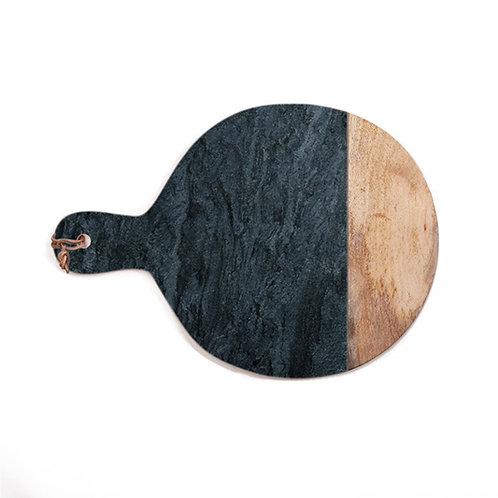Planche ronde à découper ou à présenter en marbre noir et bois