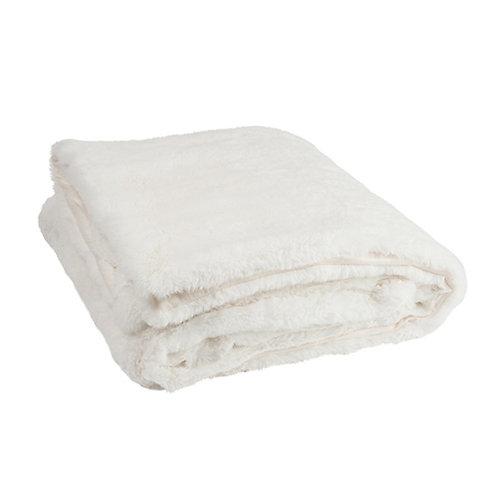 Plaid doux blanc écru imitation fourrure 130x180 cm
