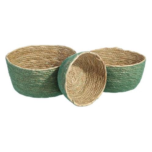 Set de 3 paniers vert en fibres naturelles