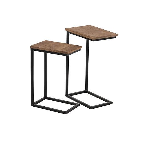 Set de 2 tables gigognes rectangulaires en métal et bois de manguier