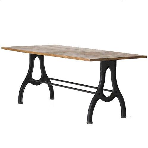 Grande table à manger en manguier et pieds en fonte