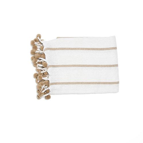 Plaid blanc/taupe lignes en coton à pompons 130x170 cm