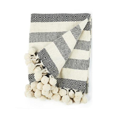 Plaid écru/noir motifs en coton à pompons 130x170 cm