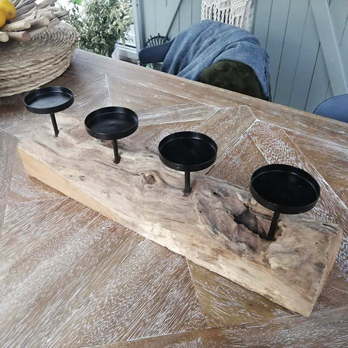Centre de table bougeoir en bois massif