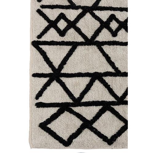 Tapis folklore berbère 100% coton écru et noir 200x300 cm