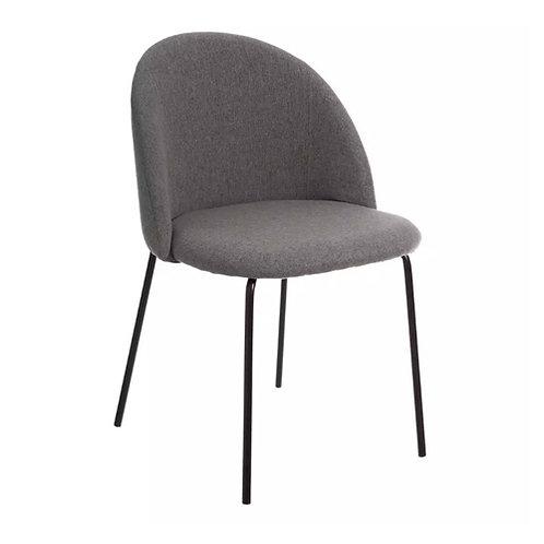 Chaise en tissu gris et pieds en fer