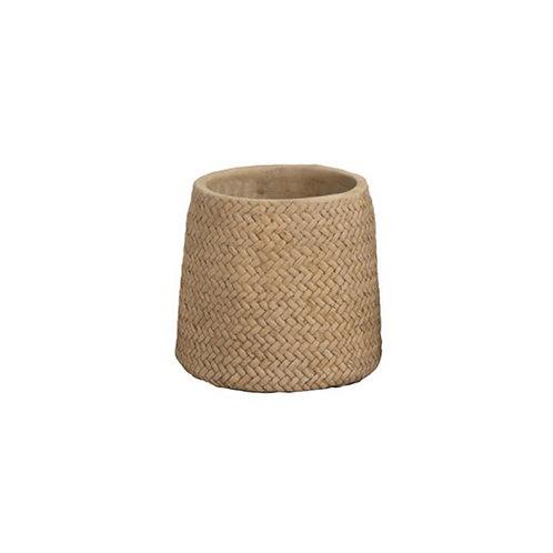 Cache-pot en céramique beige effet tressé