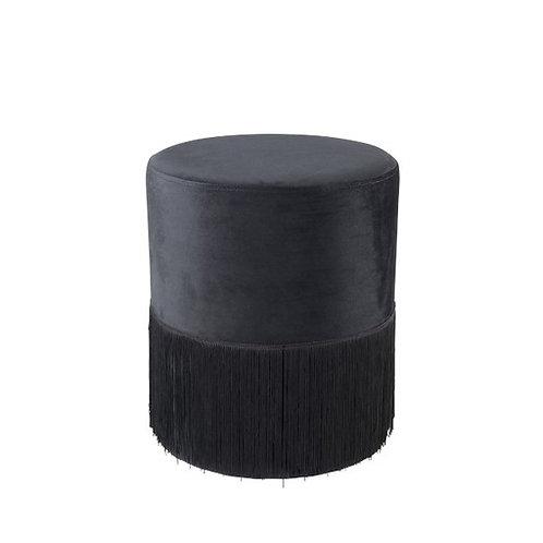 Pouf en velours à franges noires