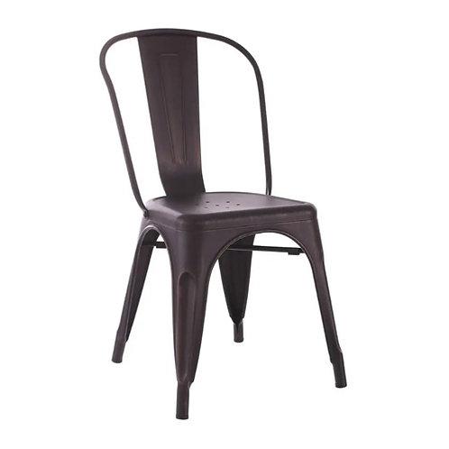 Chaise industrielle bistrot métal mat noir vieilli rouillé
