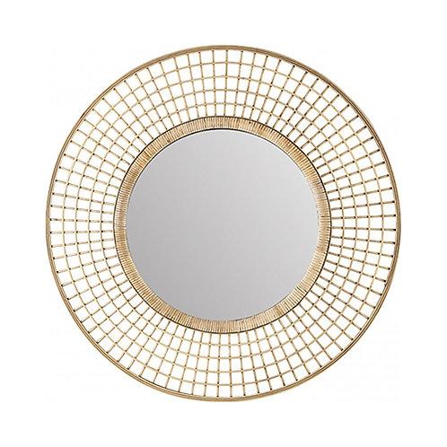 Miroir en tressage de bambou naturel 90 cm