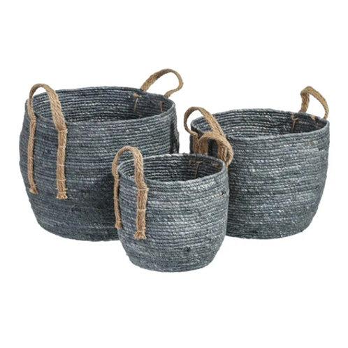 Set de 3 paniers cylindriques à anse bleu en fibres naturelles