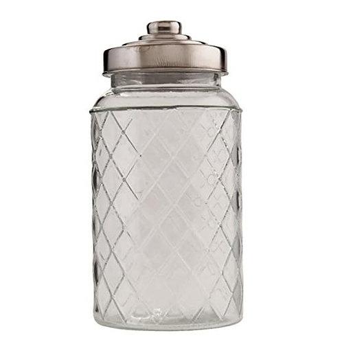 Bocal rond L en verre avec couvercle inox motifs losanges
