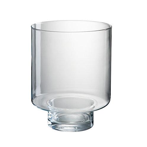 Grand vase photophore en verre transparent
