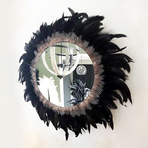Grand juju hat mural noir plumes naturelles 60 cm et grand miroir