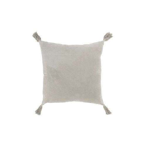 Coussin à pompons velours beige 45x45 cm