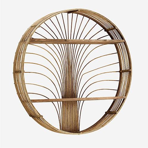 Étagère ronde en rotin et bois à suspendre