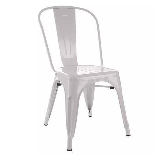 Chaise industrielle bistrot blanche