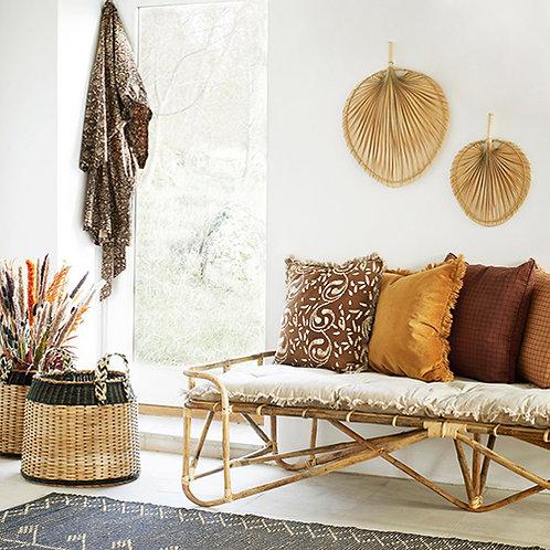 Éventail paï paï feuille de palmier en bambou naturel taille M