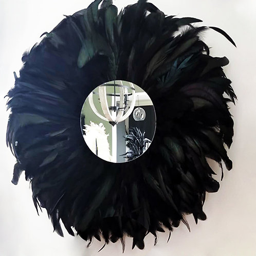 Grand juju hat mural noir plumes naturelles 60 cm et petit miroir