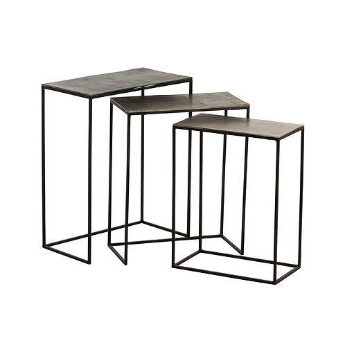 Set de 3 tables gigognes rectangulaires en aluminium