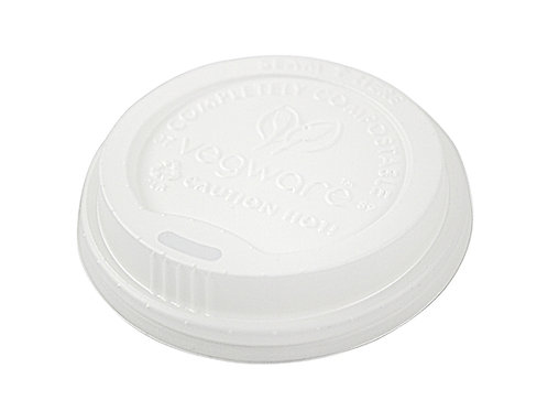 Vegware 89mm CPLA hot cup lid (fits 10 - 20oz cup) VLID89S