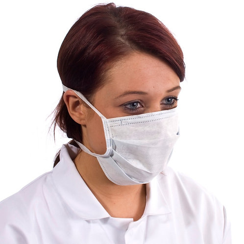 Face Masks Non-Woven White Tie-On 100