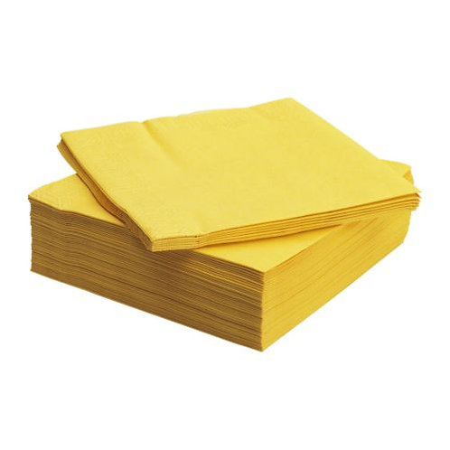 Yellow Napkins, 2 ply, 40x40 cm, 1/4 fold, Pack of 125