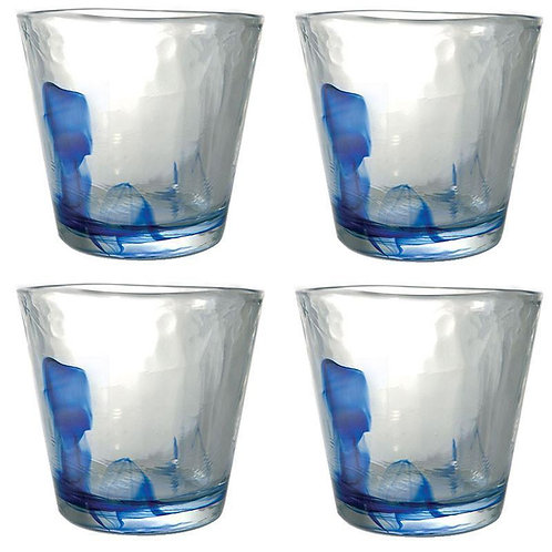 Blue Fire Murrano Tumblers (270ml)  - Set of 4