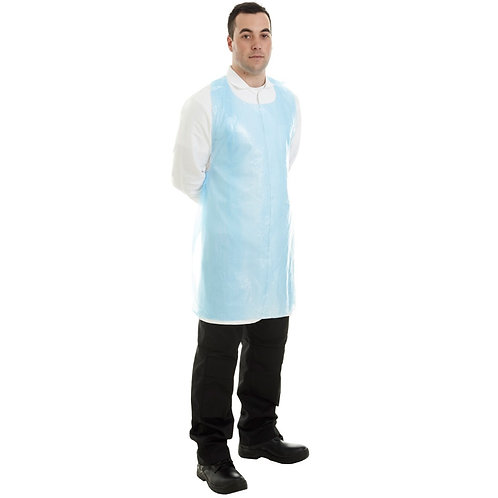 Basic - Disposable Polythene Bib Aprons Blue