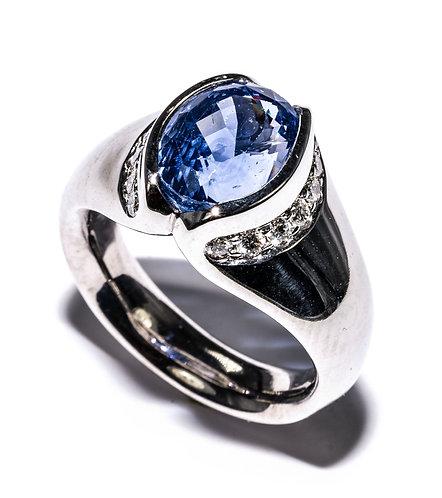 Weissgold Ring mit Saphir und Brillanten