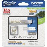 """Brother TZeMQ934 12mm (0.47"""") Gold on Satin Silver tape for P-touch 5m (16.4 ft)"""