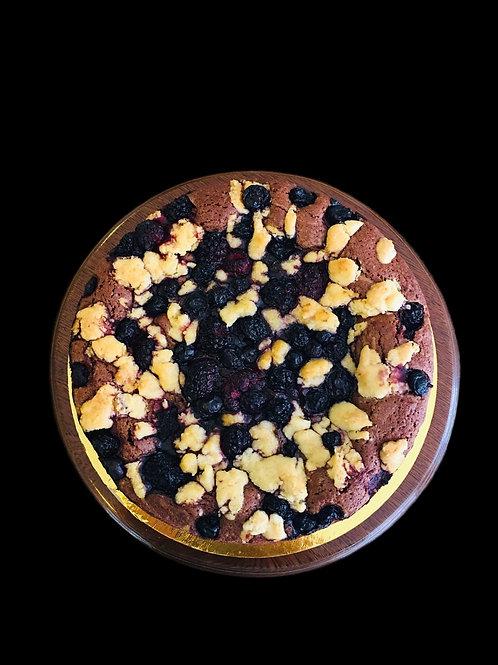 Torta de brownie con crumble de frutos Rojos