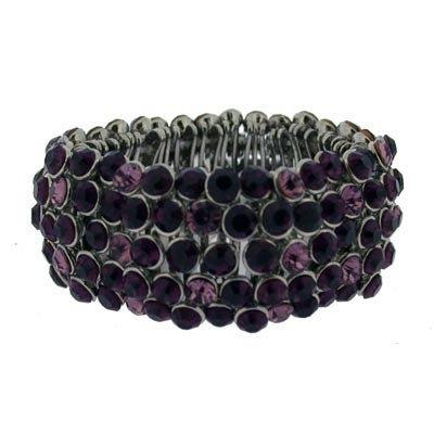 Pink and Black full crystal expandable bracelet