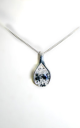 Sterling Silver Cut Crystal pendant necklace