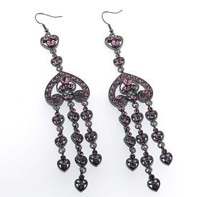 Crystal embellished drop earrings.
