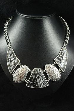SOLD Snake skin & metal designer necklace