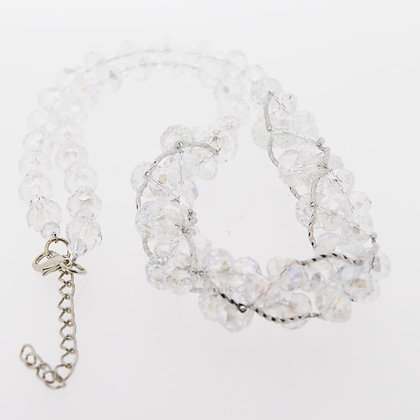 Sparkling AB Crystal beaded clear necklace