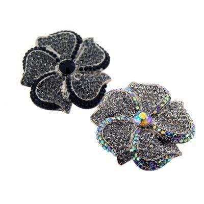Stylish Black or White crystal embelished rings