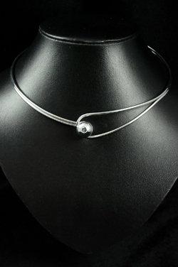 SOLD Designer silver metal choker