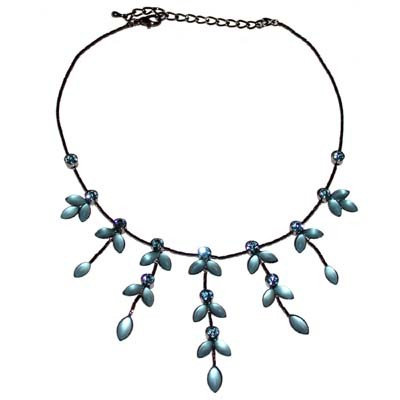 Refined blue embellished leaf crystal design