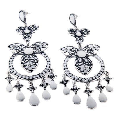 Fancy sparking & white gem embellished earrings