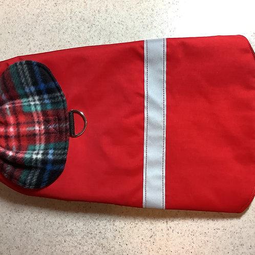SM DOG RED W/BLACK & RED PLAID WATERPROOF  COAT