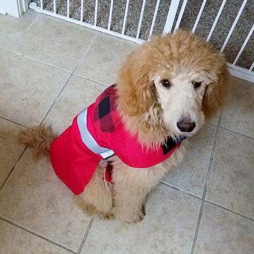 LG DOG RED BUFFALO PLAID WATERPROOF COAT