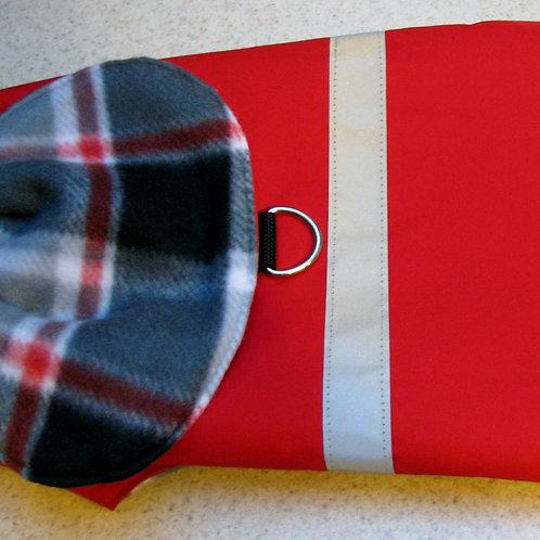 SM DOG RED W/GREY & RED PLAID WATERPROOFCOAT