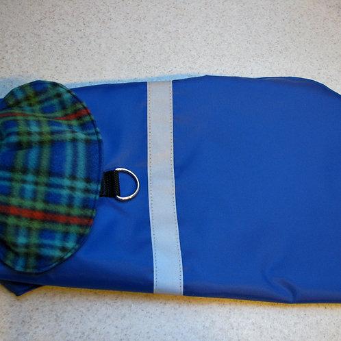 SM DOG BLUE  W/BLUE,GREEN, RED PLAID WATERPROOF COAT