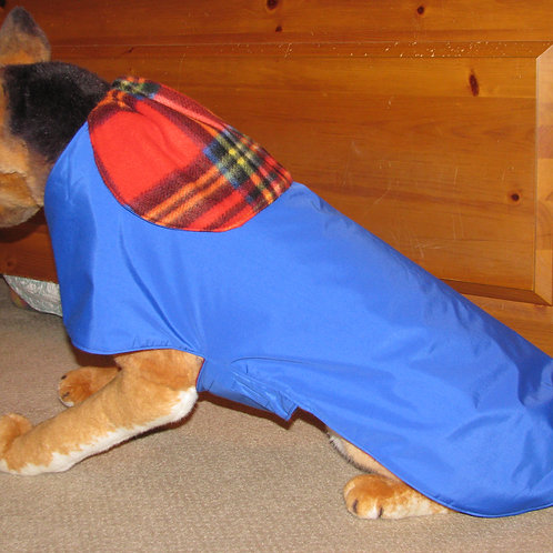 LG DOG ROYAL BLUE W/RED PLAID WATERPROOF COAT