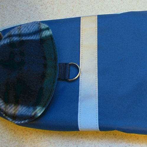 SM DOG BLUE W/DK BLUE PLAID WATERPROOF COAT