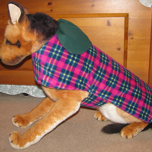 LG DOG FOREST GREEN W/FUSCHIA & GREEN PLAID FLEECE WATERPROOF COAT
