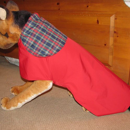 LG DOG RED W/NAVY PLAID COTTON WATERPROOF COAT