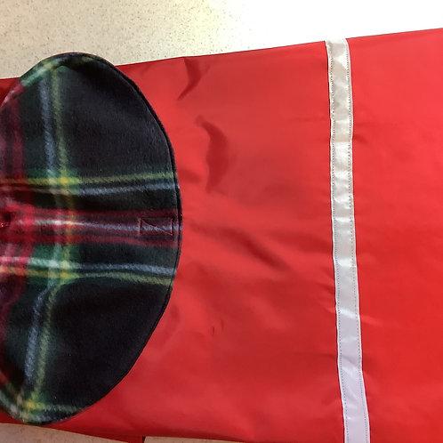 LG DOG RED W/ BLACK & RED PLAID FLEECE WATERPROOF COAT